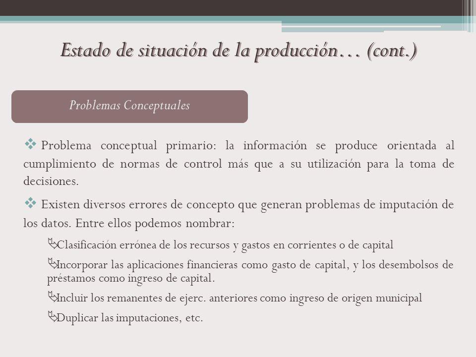 Estado de situación de la producción… (cont.) Problemas Conceptuales Problema conceptual primario: la información se produce orientada al cumplimiento