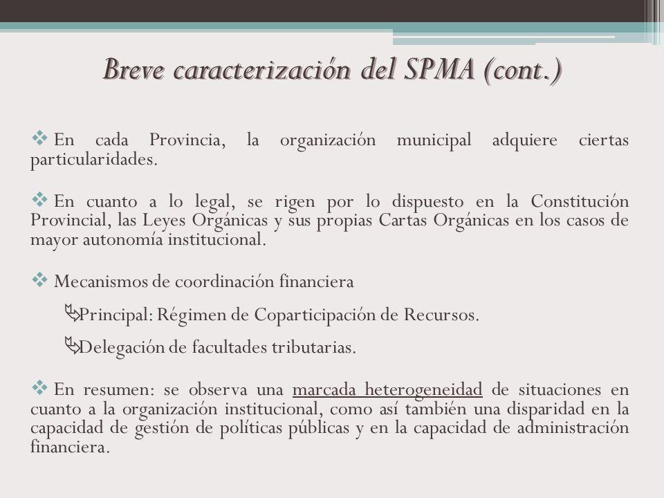 Breve caracterización del SPMA (cont.) En cada Provincia, la organización municipal adquiere ciertas particularidades. En cuanto a lo legal, se rigen