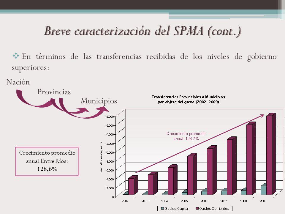 Nación Provincias Municipios En términos de las transferencias recibidas de los niveles de gobierno superiores: Breve caracterización del SPMA (cont.)