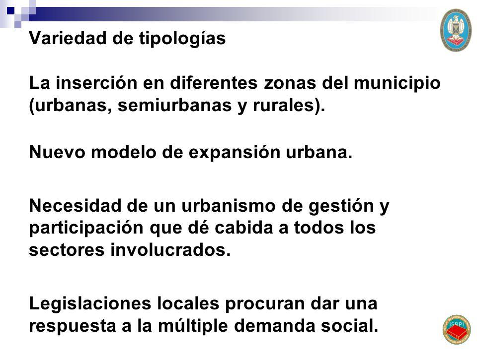 Variedad de tipologías La inserción en diferentes zonas del municipio (urbanas, semiurbanas y rurales). Nuevo modelo de expansión urbana. Necesidad de
