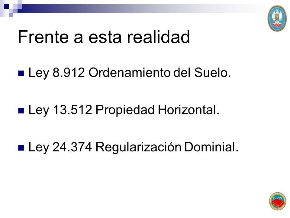 Frente a esta realidad Ley 8.912 Ordenamiento del Suelo. Ley 13.512 Propiedad Horizontal. Ley 24.374 Regularización Dominial.