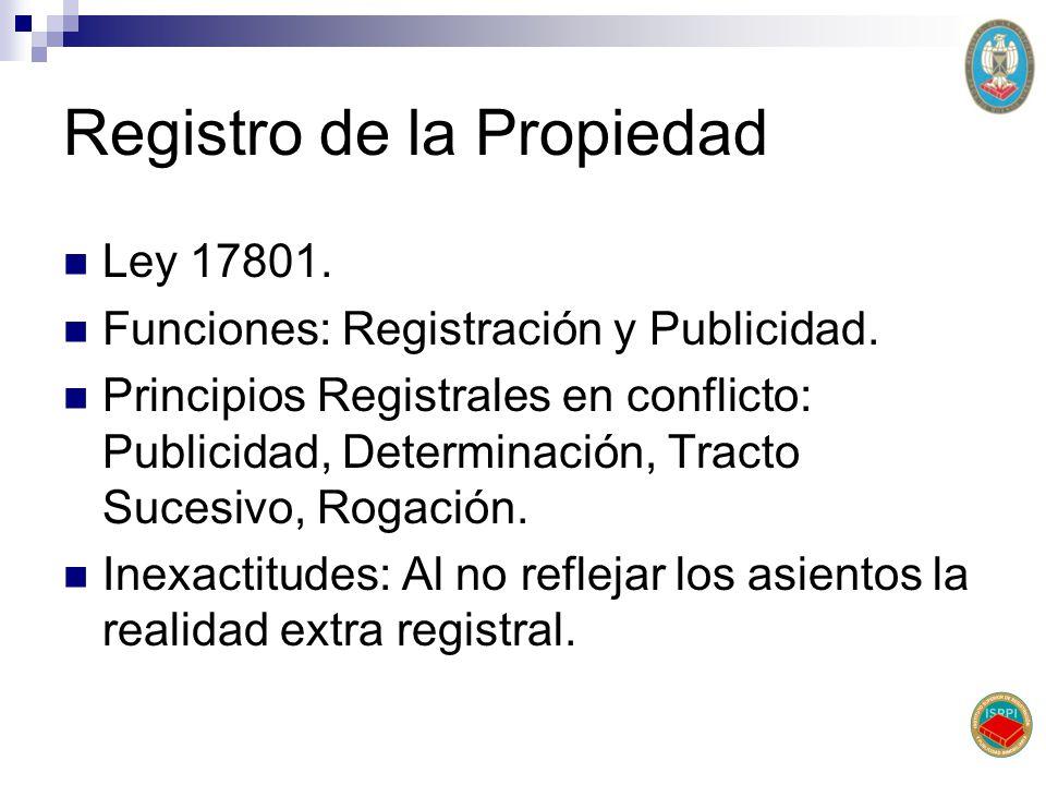 Registro de la Propiedad Ley 17801. Funciones: Registración y Publicidad. Principios Registrales en conflicto: Publicidad, Determinación, Tracto Suces
