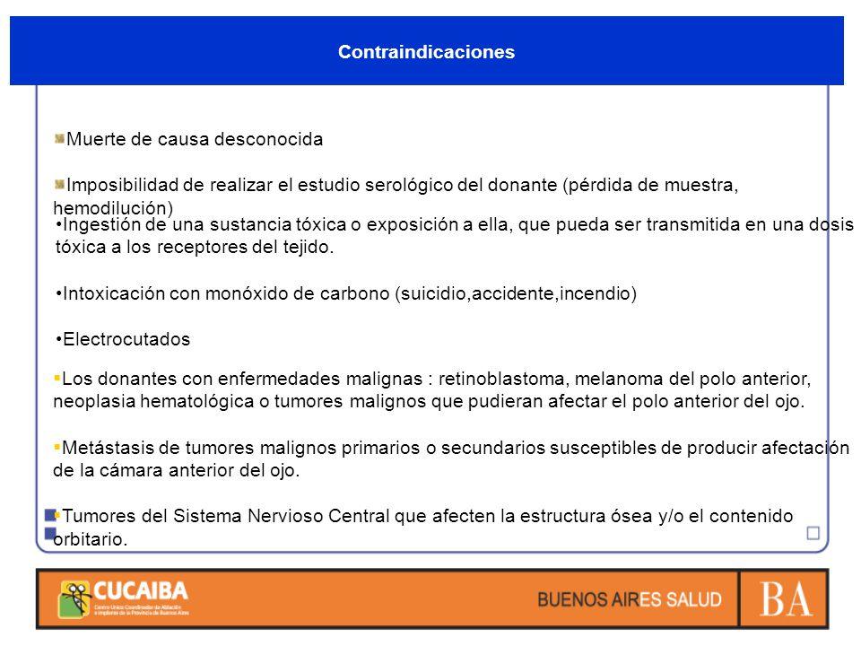 Contraindicaciones Muerte de causa desconocida Imposibilidad de realizar el estudio serológico del donante (pérdida de muestra, hemodilución) Ingestió