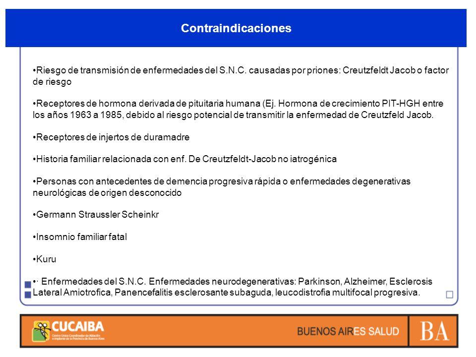 Contraindicaciones Riesgo de transmisión de enfermedades del S.N.C. causadas por priones: Creutzfeldt Jacob o factor de riesgo Receptores de hormona d
