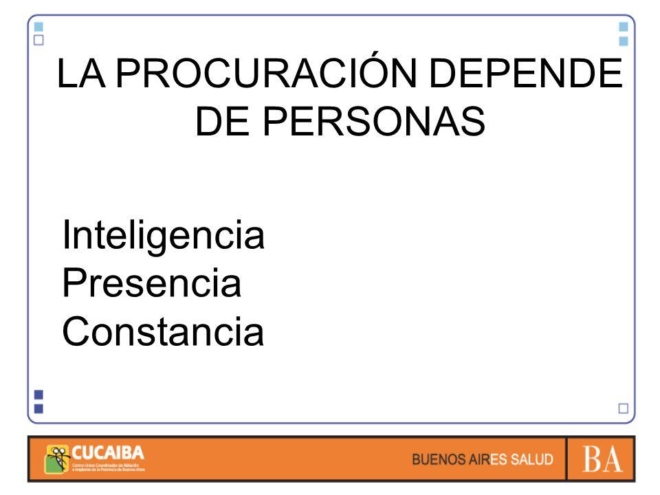 LA PROCURACIÓN DEPENDE DE PERSONAS Inteligencia Presencia Constancia