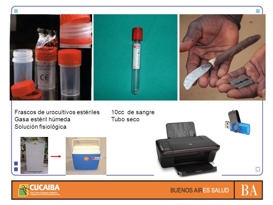 10cc de sangre Tubo seco Frascos de urocultivos estériles Gasa estéril húmeda Solución fisiológica