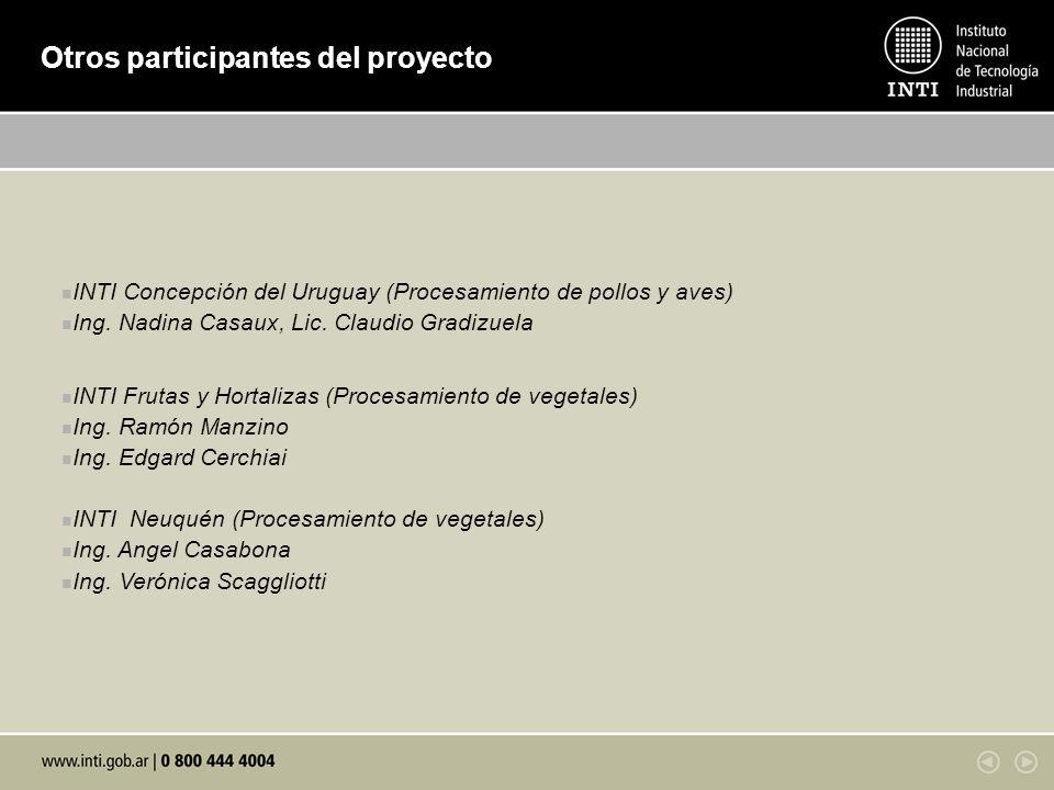Otros participantes del proyecto INTI Concepción del Uruguay (Procesamiento de pollos y aves) Ing. Nadina Casaux, Lic. Claudio Gradizuela INTI Frutas