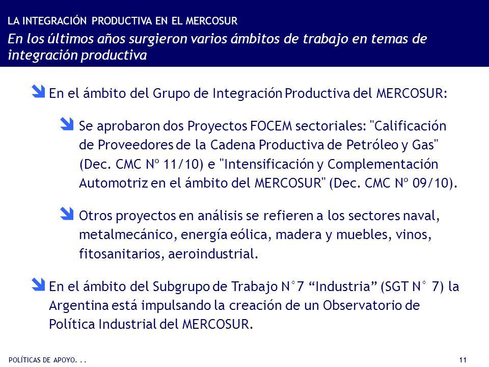 POLÍTICAS DE APOYO... 11 En el ámbito del Grupo de Integración Productiva del MERCOSUR: Se aprobaron dos Proyectos FOCEM sectoriales:
