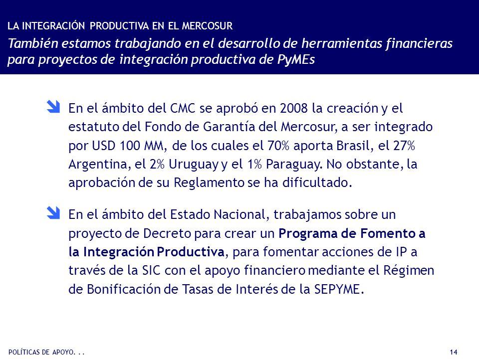 POLÍTICAS DE APOYO... 14 En el ámbito del CMC se aprobó en 2008 la creación y el estatuto del Fondo de Garantía del Mercosur, a ser integrado por USD