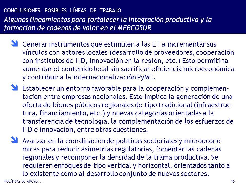 POLÍTICAS DE APOYO... 15 Generar instrumentos que estimulen a las ET a incrementar sus vínculos con actores locales (desarrollo de proveedores, cooper