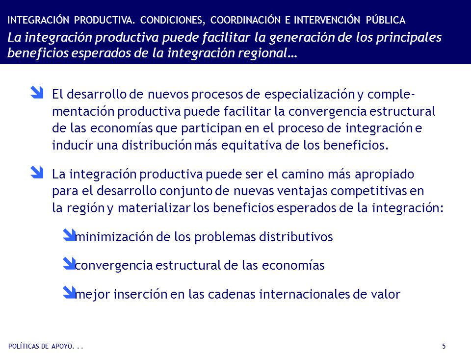 POLÍTICAS DE APOYO... 5 El desarrollo de nuevos procesos de especialización y comple- mentación productiva puede facilitar la convergencia estructural