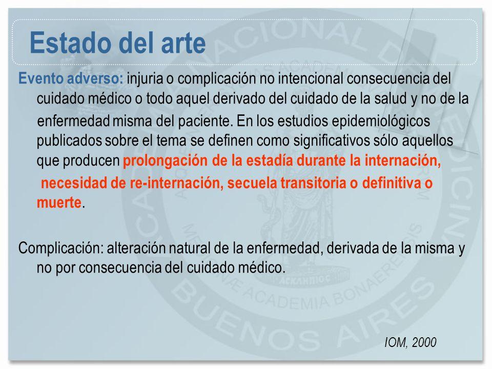 Evento adverso: injuria o complicación no intencional consecuencia del cuidado médico o todo aquel derivado del cuidado de la salud y no de la enferme