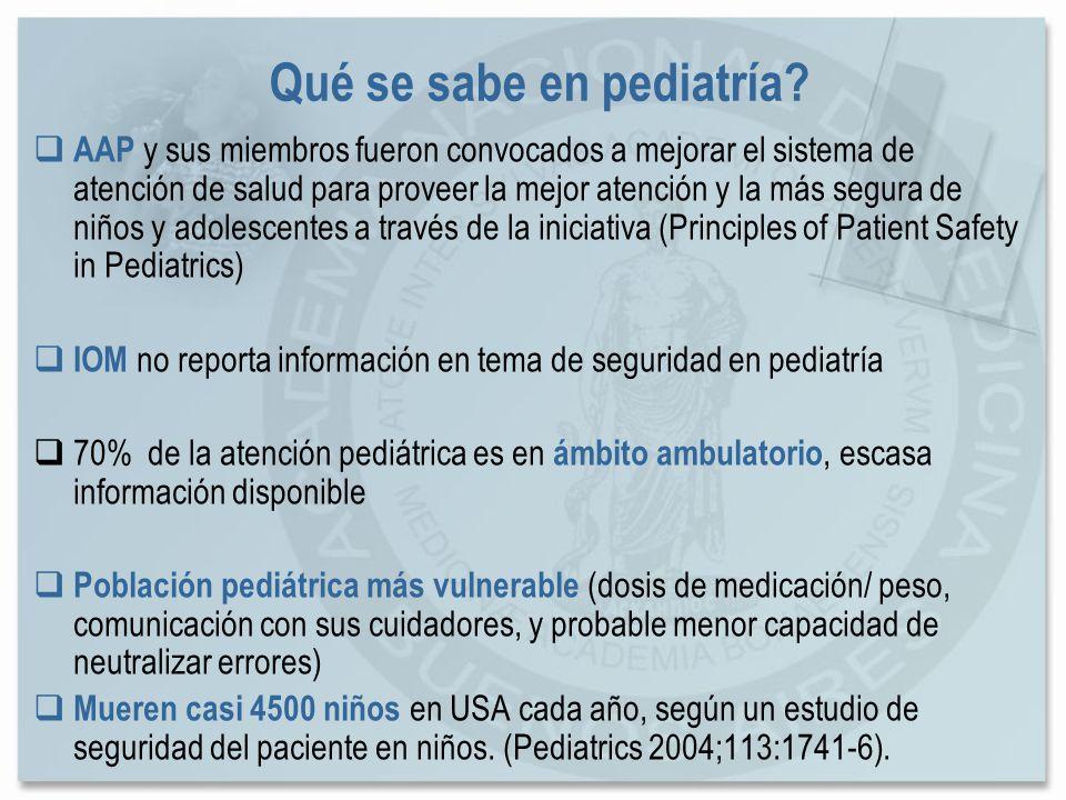 Qué se sabe en pediatría? AAP y sus miembros fueron convocados a mejorar el sistema de atención de salud para proveer la mejor atención y la más segur