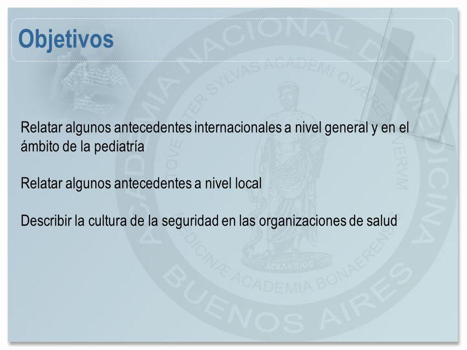 Objetivos Relatar algunos antecedentes internacionales a nivel general y en el ámbito de la pediatría Relatar algunos antecedentes a nivel local Descr