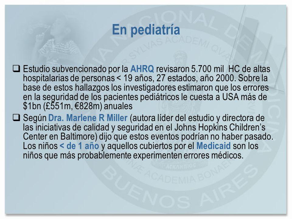 En pediatría Estudio subvencionado por la AHRQ revisaron 5.700 mil HC de altas hospitalarias de personas < 19 años, 27 estados, año 2000. Sobre la bas