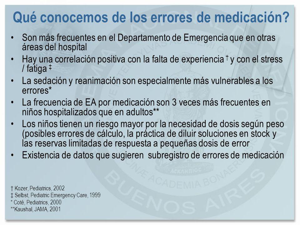 Qué conocemos de los errores de medicación? Son más frecuentes en el Departamento de Emergencia que en otras áreas del hospital Hay una correlación po