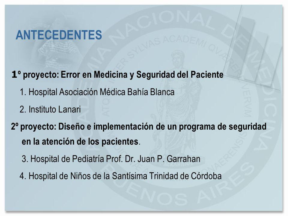 1 º proyecto: Error en Medicina y Seguridad del Paciente 1. Hospital Asociación Médica Bahía Blanca 2. Instituto Lanari 2º proyecto: Diseño e implemen