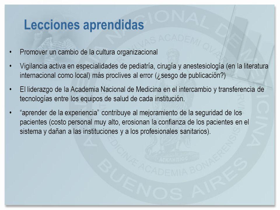 Promover un cambio de la cultura organizacional Vigilancia activa en especialidades de pediatría, cirugía y anestesiología (en la literatura internaci