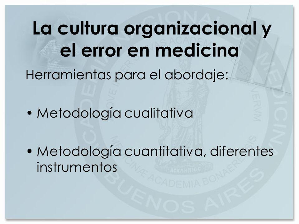 La cultura organizacional y el error en medicina Herramientas para el abordaje: Metodología cualitativa Metodología cuantitativa, diferentes instrumen