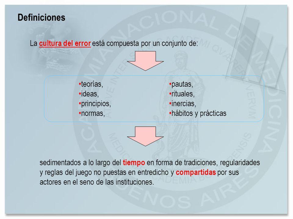 Definiciones La cultura del error está compuesta por un conjunto de: sedimentados a lo largo del tiempo en forma de tradiciones, regularidades y regla