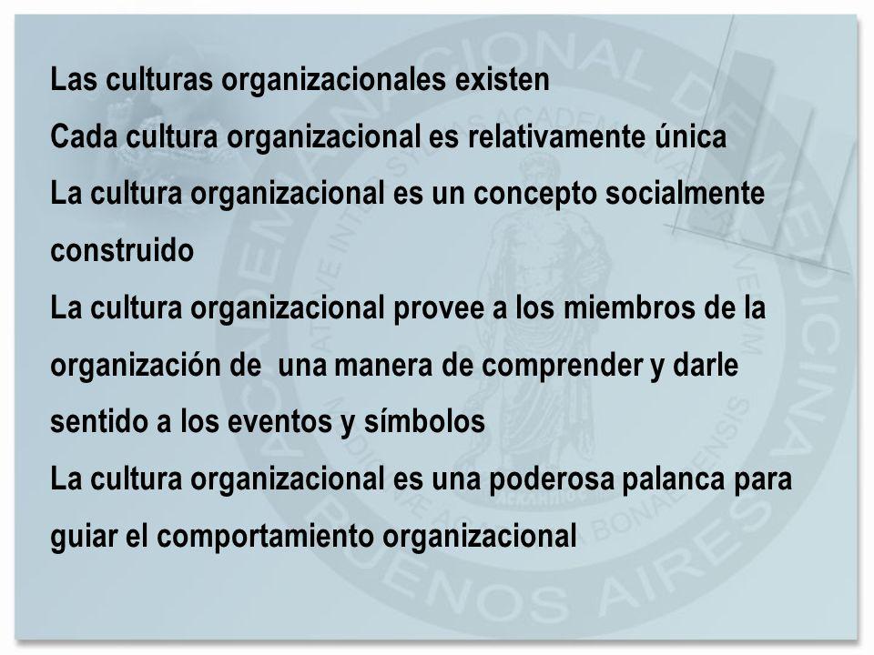 Las culturas organizacionales existen Cada cultura organizacional es relativamente única La cultura organizacional es un concepto socialmente construi