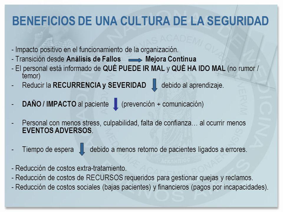 BENEFICIOS DE UNA CULTURA DE LA SEGURIDAD - Impacto positivo en el funcionamiento de la organización. - Transición desde Análisis de Fallos Mejora Con