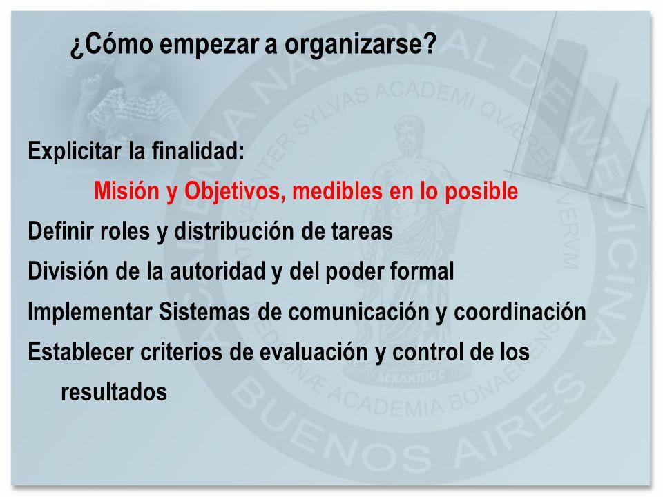 Explicitar la finalidad: Misión y Objetivos, medibles en lo posible Definir roles y distribución de tareas División de la autoridad y del poder formal