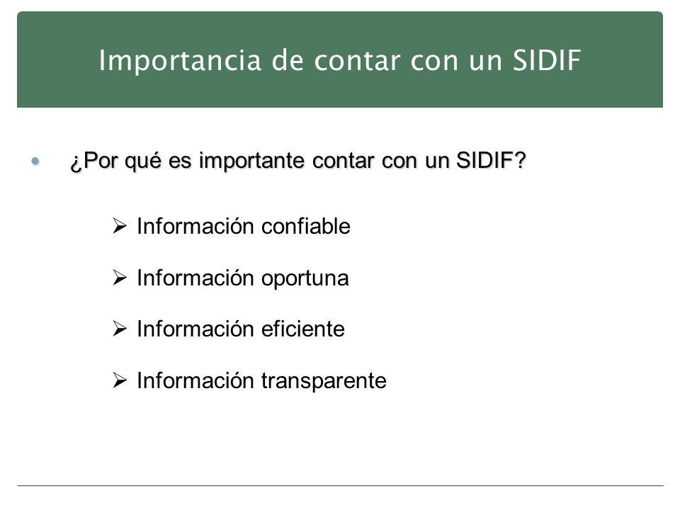 Importancia de contar con un SIDIF ¿Por qué es importante contar con un SIDIF? ¿Por qué es importante contar con un SIDIF? Información confiable Infor