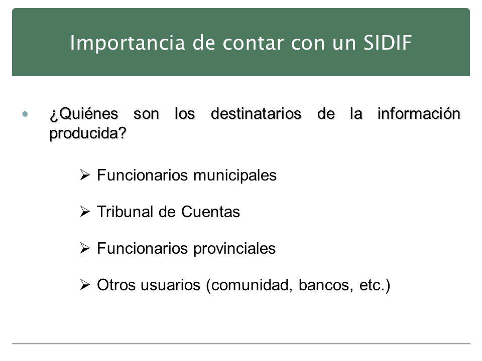 Importancia de contar con un SIDIF ¿Quiénes son los destinatarios de la información producida? ¿Quiénes son los destinatarios de la información produc