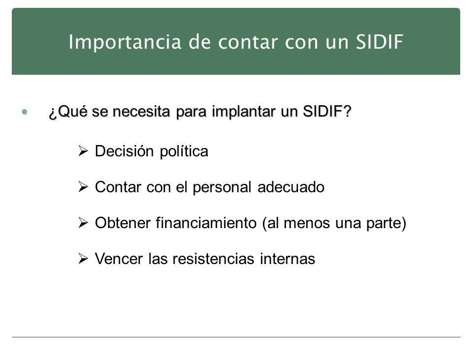Importancia de contar con un SIDIF ¿Qué se necesita para implantar un SIDIF? ¿Qué se necesita para implantar un SIDIF? Decisión política Contar con el