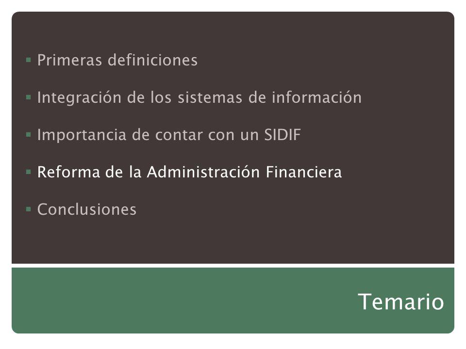 Temario Primeras definiciones Integración de los sistemas de información Importancia de contar con un SIDIF Reforma de la Administración Financiera Co