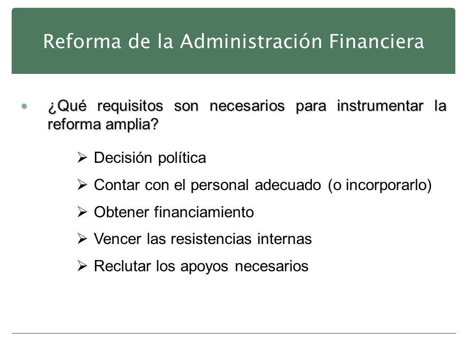 Reforma de la Administración Financiera ¿Qué requisitos son necesarios para instrumentar la reforma amplia? ¿Qué requisitos son necesarios para instru