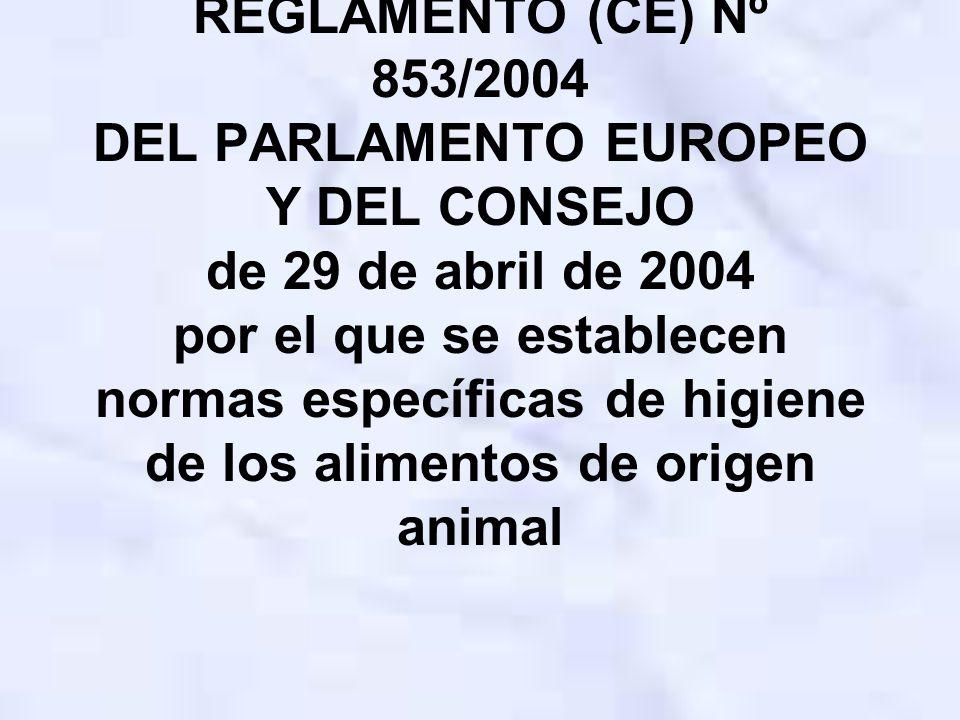 REGLAMENTO (CE) Nº 853/2004 DEL PARLAMENTO EUROPEO Y DEL CONSEJO de 29 de abril de 2004 por el que se establecen normas específicas de higiene de los