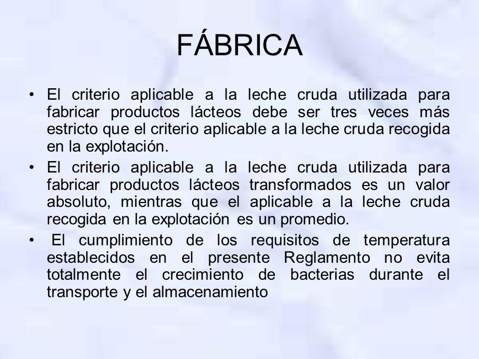 FÁBRICA El criterio aplicable a la leche cruda utilizada para fabricar productos lácteos debe ser tres veces más estricto que el criterio aplicable a