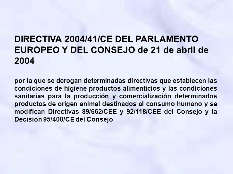 DIRECTIVA 2004/41/CE DEL PARLAMENTO EUROPEO Y DEL CONSEJO de 21 de abril de 2004 por la que se derogan determinadas directivas que establecen las cond