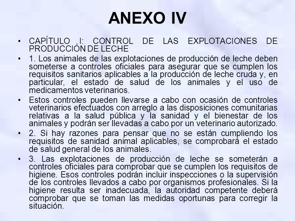 ANEXO IV CAPÍTULO I: CONTROL DE LAS EXPLOTACIONES DE PRODUCCIÓN DE LECHE 1. Los animales de las explotaciones de producción de leche deben someterse a