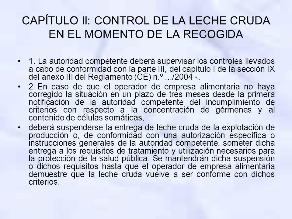 CAPÍTULO II: CONTROL DE LA LECHE CRUDA EN EL MOMENTO DE LA RECOGIDA 1. La autoridad competente deberá supervisar los controles llevados a cabo de conf