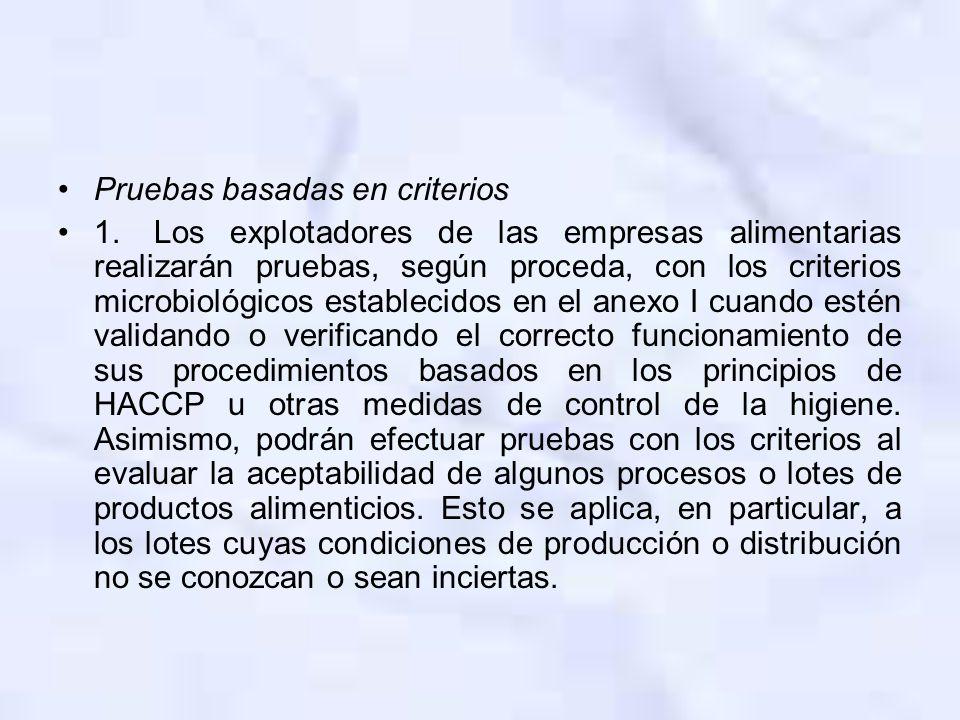 Pruebas basadas en criterios 1.Los explotadores de las empresas alimentarias realizarán pruebas, según proceda, con los criterios microbiológicos esta
