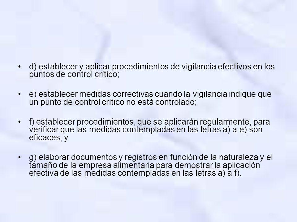 d) establecer y aplicar procedimientos de vigilancia efectivos en los puntos de control crítico; e) establecer medidas correctivas cuando la vigilanci