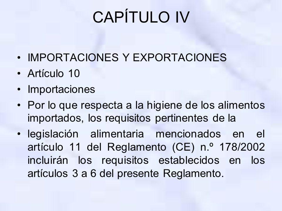 CAPÍTULO IV IMPORTACIONES Y EXPORTACIONES Artículo 10 Importaciones Por lo que respecta a la higiene de los alimentos importados, los requisitos perti