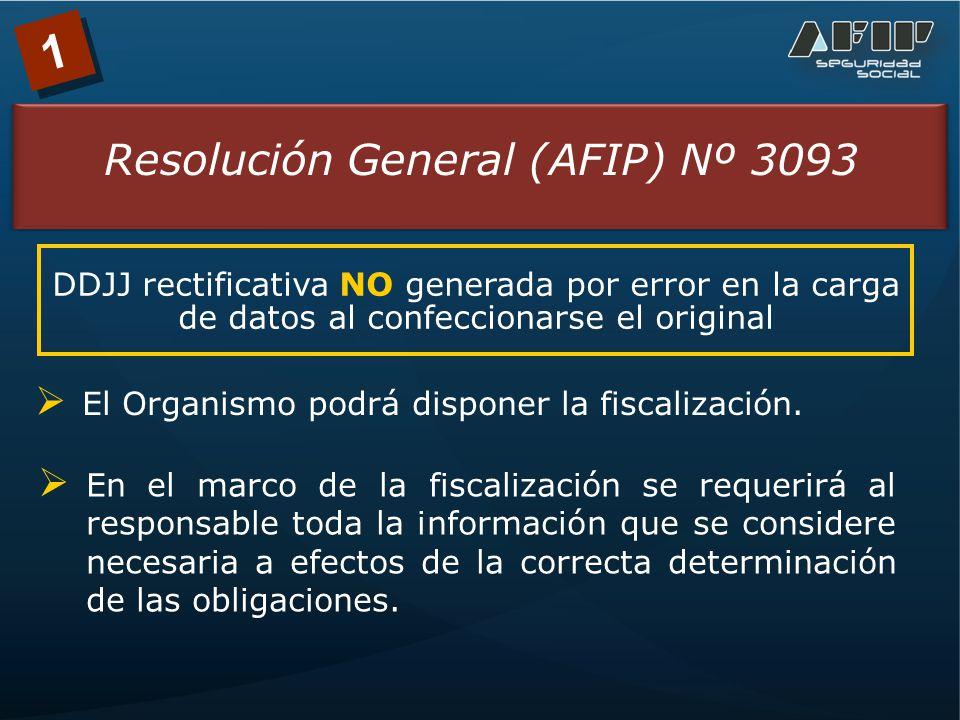 1 Resolución General (AFIP) Nº 3093 DDJJ rectificativa NO generada por error en la carga de datos al confeccionarse el original El Organismo podrá disponer la fiscalización.