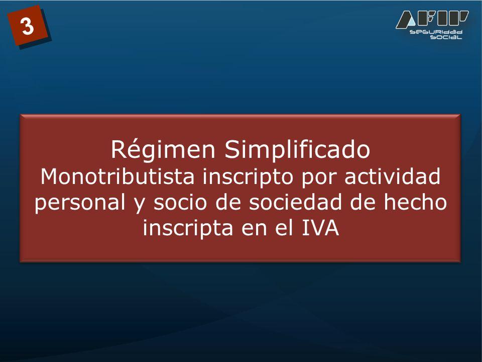 3 Régimen Simplificado Monotributista inscripto por actividad personal y socio de sociedad de hecho inscripta en el IVA