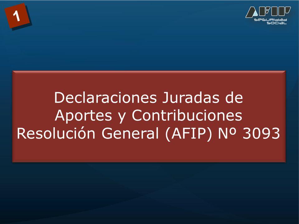 1 Declaraciones Juradas de Aportes y Contribuciones Resolución General (AFIP) Nº 3093