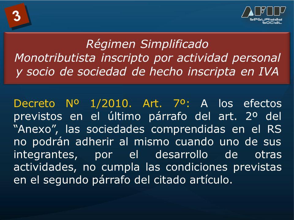 3 Régimen Simplificado Monotributista inscripto por actividad personal y socio de sociedad de hecho inscripta en IVA Decreto Nº 1/2010.