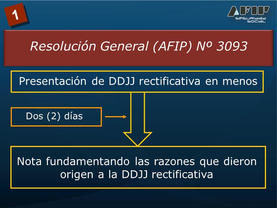 1 Resolución General (AFIP) Nº 3093 Presentación de DDJJ rectificativa en menos Nota fundamentando las razones que dieron origen a la DDJJ rectificativa Dos (2) días