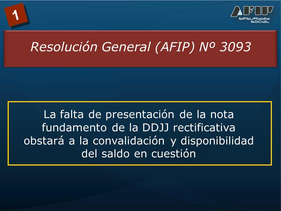 1 Resolución General (AFIP) Nº 3093 Las DDJJ rectificativas producirán efectos una vez que el Organismo convalide el saldo a favor del contribuyente que resulte de las mismas