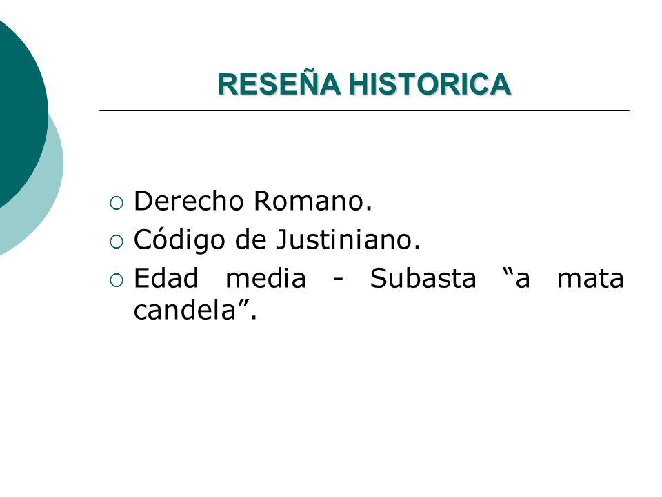 RESEÑA HISTORICA Derecho Romano. Código de Justiniano. Edad media - Subasta a mata candela.