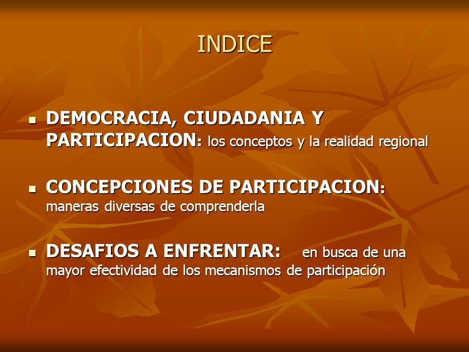 DEMOCRACIA, CIUDADANIA Y PARTICIPACION ¿Ha fracasado la democracia como garante de la igualdad en América Latina...?, ¿Ha fracasado la democracia como garante de la igualdad en América Latina...?, ¿de qué manera la construcción de ciudadanía contribuye al logro de la equidad...?, ¿de qué manera la construcción de ciudadanía contribuye al logro de la equidad...?, ¿es la participación social el camino hacia la ciudadanía y la democracia...?.