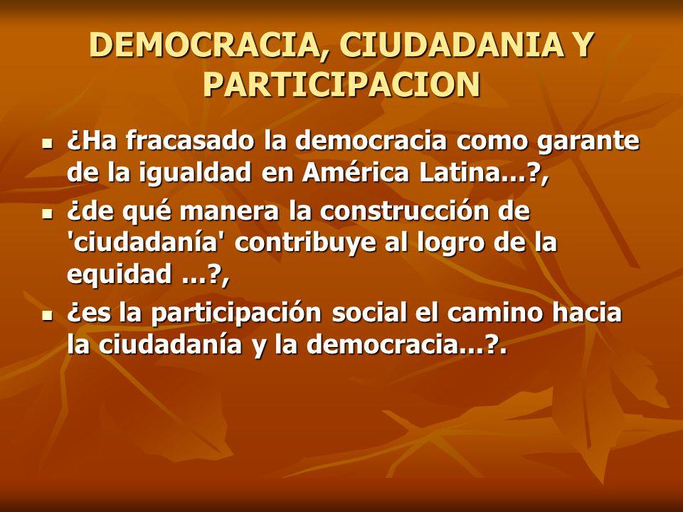 DEMOCRACIA, CIUDADANIA Y PARTICIPACION ¿Ha fracasado la democracia como garante de la igualdad en América Latina...?, ¿Ha fracasado la democracia como