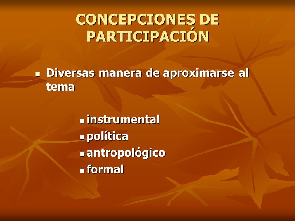 CONCEPCIONES DE PARTICIPACIÓN Diversas manera de aproximarse al tema Diversas manera de aproximarse al tema instrumental instrumental política polític